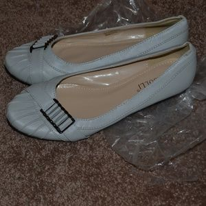 Rosalli Gray Flats Shoes with Buckle Accent 11M